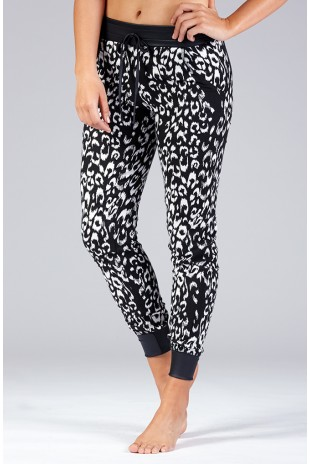 Faux Leather Trimmed Animal Print Jogger in Black/White