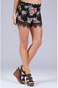 Printed Floral Shorts w/Trim