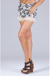 Shades of Grey Floral Printed Shorts in Lace Trim