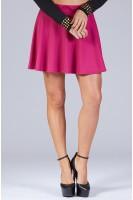 Solid Knit Skater Skirt in Magenta