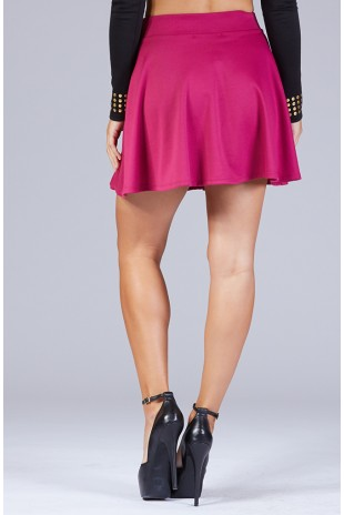 Solid Knit Skater Skirt in Magenta