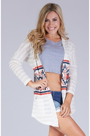 Tribal Print Open Front Cardigan in Ivory