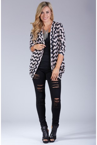 Chevron Print Dolman Sleeve Cardigan in Black/Natural