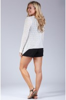 Marled Knit Open Front Cardigan in Ivory