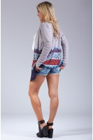 Tribal Print Open Front Cardigan in Grey