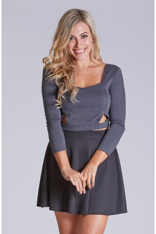 Long Sleeve Front Cut Out Top in Charcoal