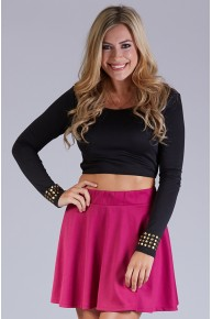 Long Sleeve Cut Out Crop Top With Nailhead Cuff Detail in Black