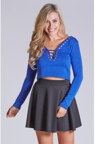 Long Sleeve Cut Out Crop Top With Nailhead Detail in Royal