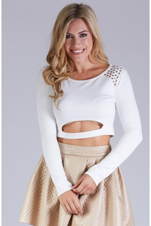 Long Sleeve Cut Out Crop Top With Nailhead Shoulder Detail in Ivory