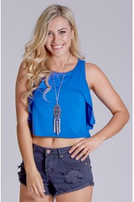Ruffle Front Crop Tank in Royal