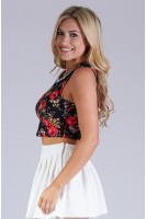 Printed Crop Tank with Jewel Embellishment in Cherry