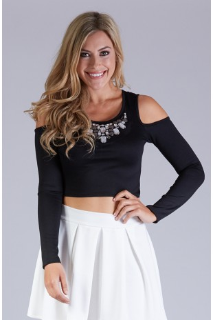 Cold Shoulder Top With Rhinestone Embellishment in Black
