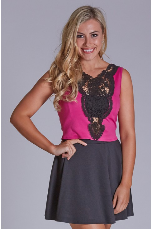 Sleeveless Crop Trop with Crochet Trim in Magenta