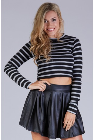 Long Sleeve Mock Neck Wide Striped Top