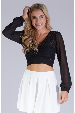 Lace & Chiffon Wrap Crop in Black
