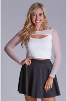 Textured Knit Crop with Mesh Sleeves in Ivory