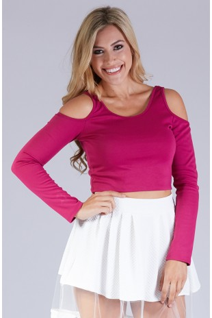 Long Sleeve Cold Shoulder Bow Back Top in Magenta