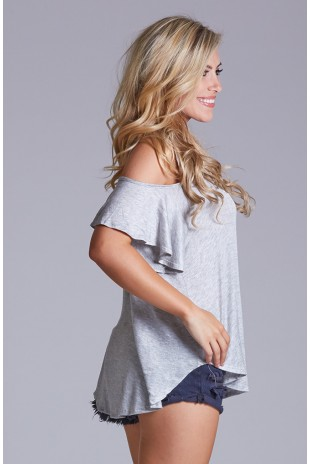 Loose Fitting Cold Shoulder Top - Grey
