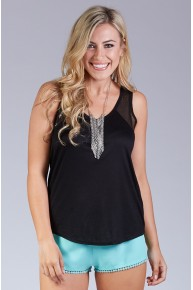 Sequined Tank Top in Black