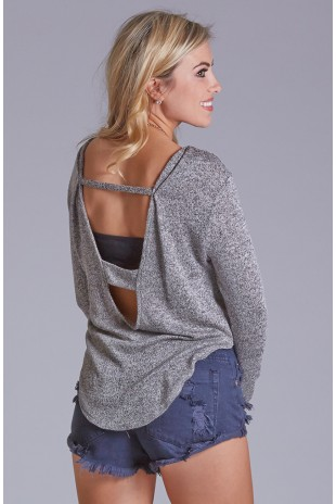 Front Tie Sweater in Charcoal