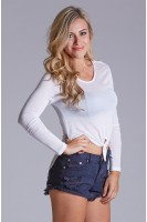 Long Sleeve High Low Tie Front Top in Ivory