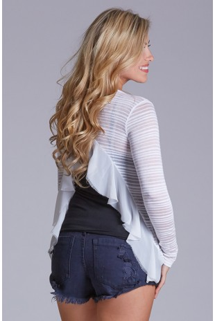 Open Back Shadow Stripe Top in White
