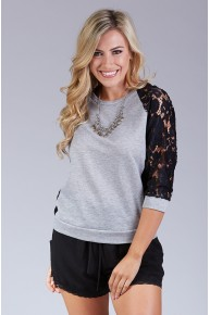Lace Paneled Sweatshirt in Heather Grey/Black