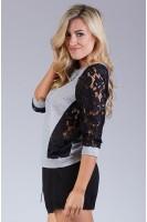 Lace Paneled Sweatshirt in Heather Grey/Black