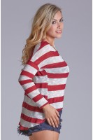 Faux Leather Pocket Stripe Sweater in Burgundy/Ivory