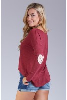 Elbow Patch High-Low Sweater in Cherry