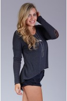 Elbow Patch High-Low Sweater in Charcoal