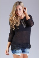 Crochet Trim Sweater in Black