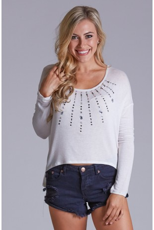Embellished Drop Shoulder Long Sleeve Top in Ivory