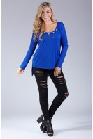Embellished High Low Long Sleeve Top in Royal