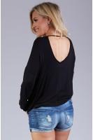 V-Neck Loose Fitting Dolman Sleeve Top - Black