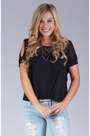 Boxy Cold Shoulder Top in Black