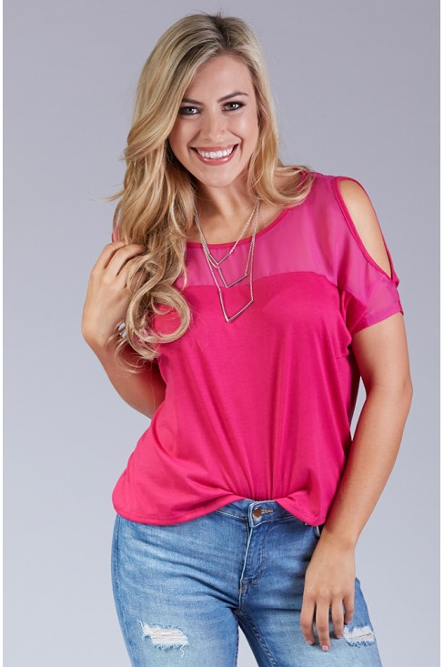 Boxy Cold Shoulder Top in Magenta