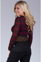 Striped Sweater with Embroidered Lace in Burgundy/Black