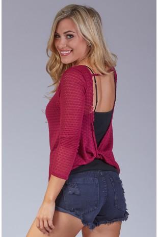 Honeycomb Knit Twist Back Sweater in Ruby
