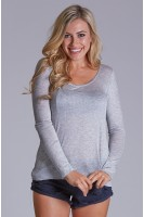 Long Sleeve Open Back Top in Heather Grey