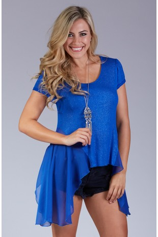 Glitter Knit Dipped Hem Top - Royal
