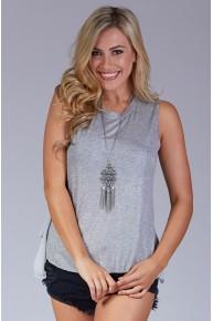 Glitter Knit Open Back Tank - Grey