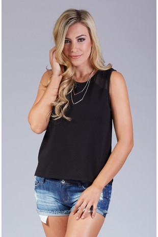 Raised Texture Knit & Chiffon Tank in Black