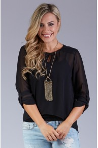 Sheer Keyhole Blouse with Faux Leather Shoulder Patches in Black