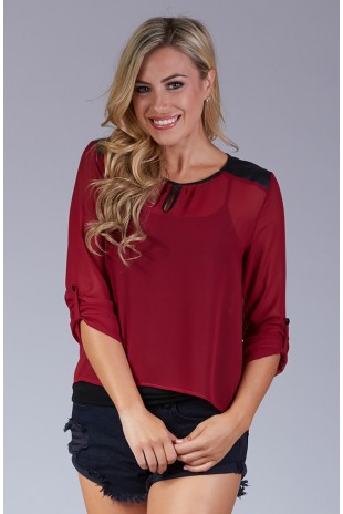 Sheer Keyhole Blouse with Faux Leather Shoulder Patches in Burgundy