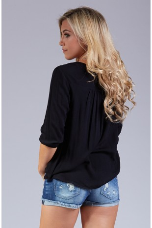 Lace Inset Peasant Top in Black