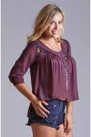 Lace Inset Peasant Top in Burgundy