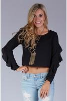 Ruffle Sleeve Crop Blouse in Black