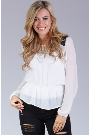 Sheer Blouse with Faux Leather Shoulder Patches in Ivory
