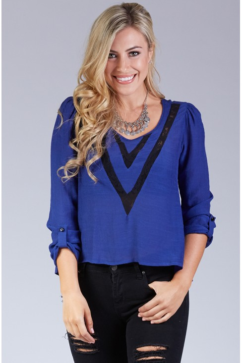 Lace V-Inset Peasant Top in Royal